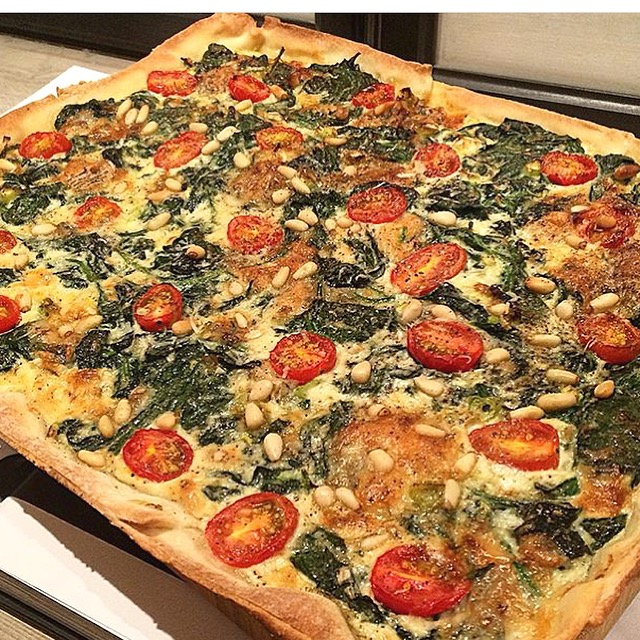 Plaatquiche met gorgonzola en spinazie