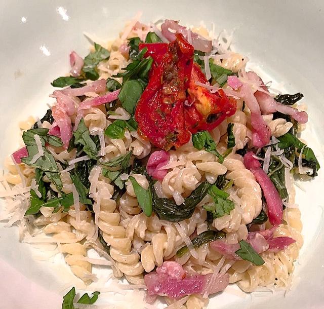 Fusilli met spinazie en mascarpone