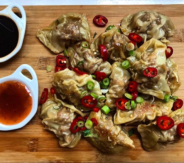 Dumplings met garnalen EN gehakt